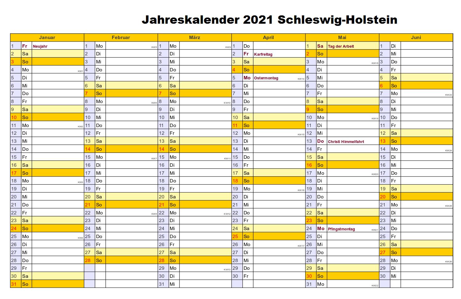 Kostenlos Jahreskalender 2021 Schleswig-Holstein Zum Ausdrucken