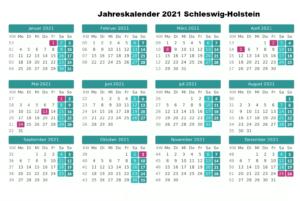 Jahreskalender 2021 Schleswig-Holstein MitFeiertagen