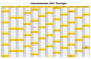 Jahreskalender 2021 Thuringia PDF