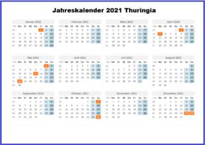 Jahreskalender 2021 Thuringia MitFeiertagen