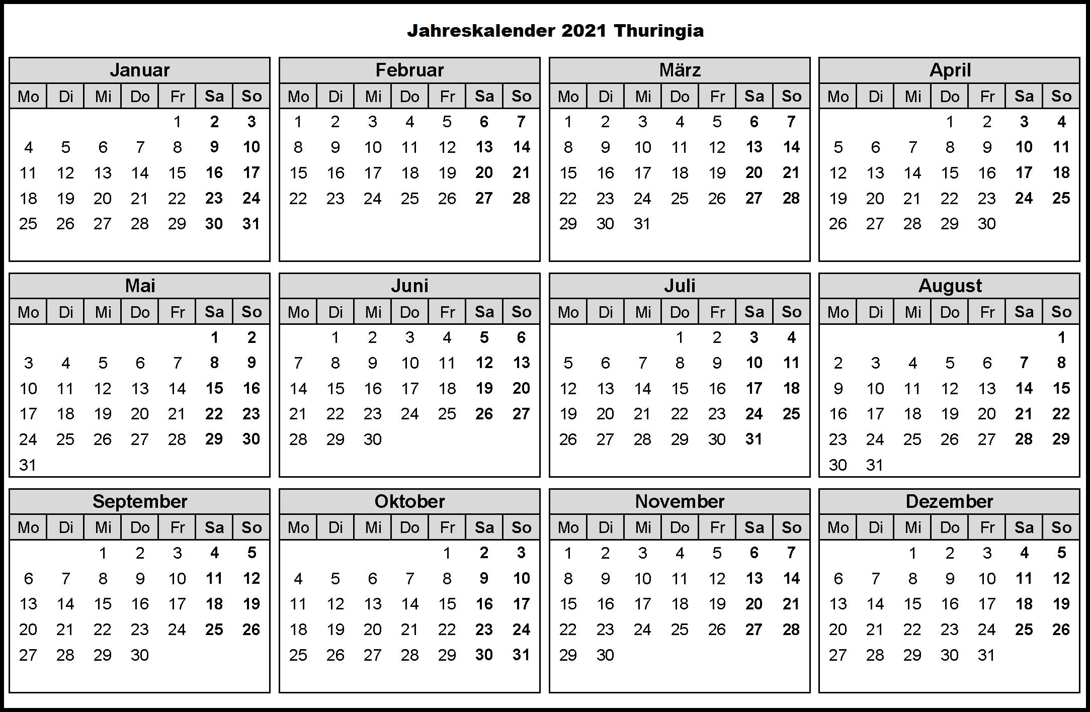 Jahreskalender 2021 Thuringia MitFerien und Feiertagen