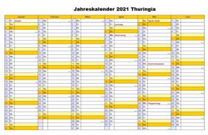 Jahreskalender 2021 Thuringia Schulferien