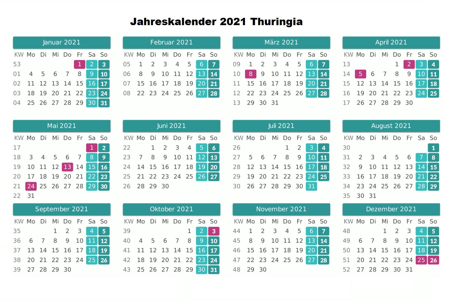 Kostenlos Jahreskalender 2021 Thuringia Zum Ausdrucken