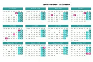 Kostenlos Jahreskalender 2021 Berlin Zum Ausdrucken