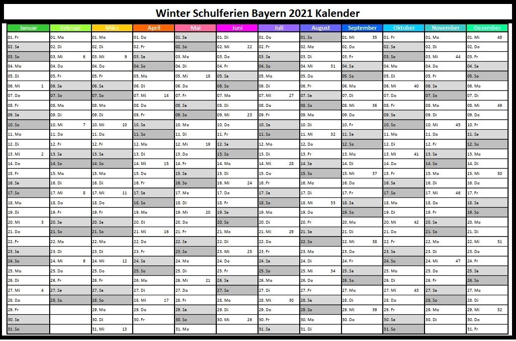 KalenderWinterferien Und Feiertage 2021 Bayern