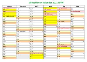 KalenderWinterferien Und Feiertage 2021 NRW