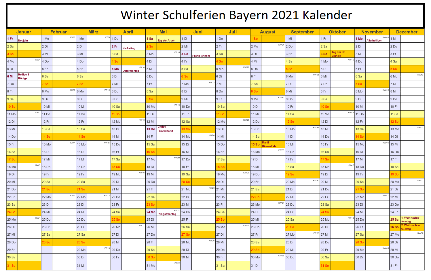 Winter Schulferien Bayern 2021 Kalender
