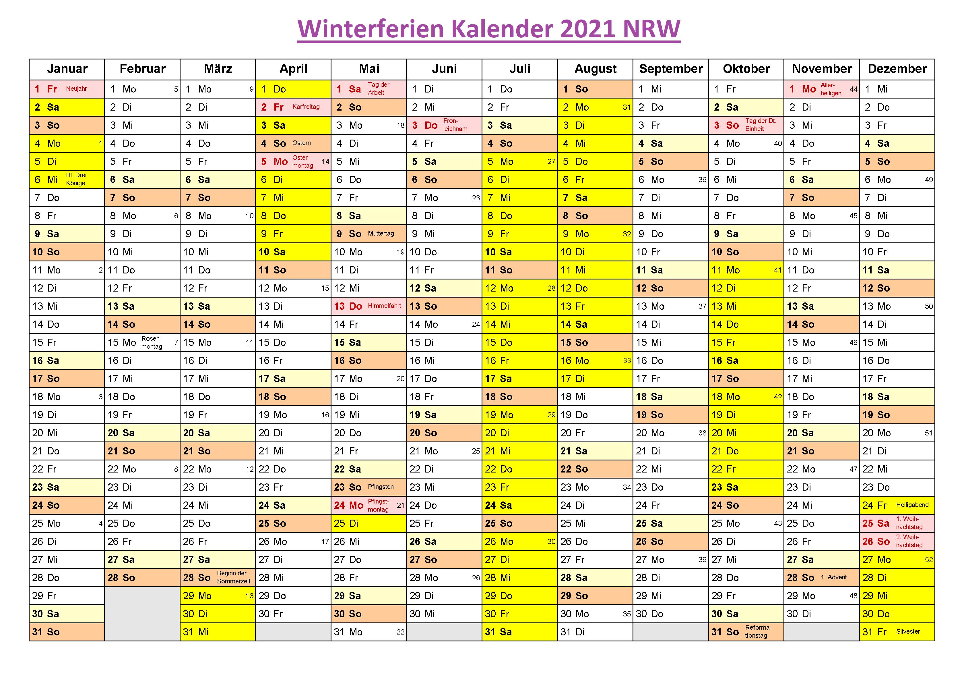 Winter Schulferien NRW 2021 Kalender