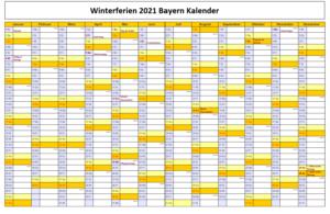 Winterferien Kalender 2021 Bayern Drucken