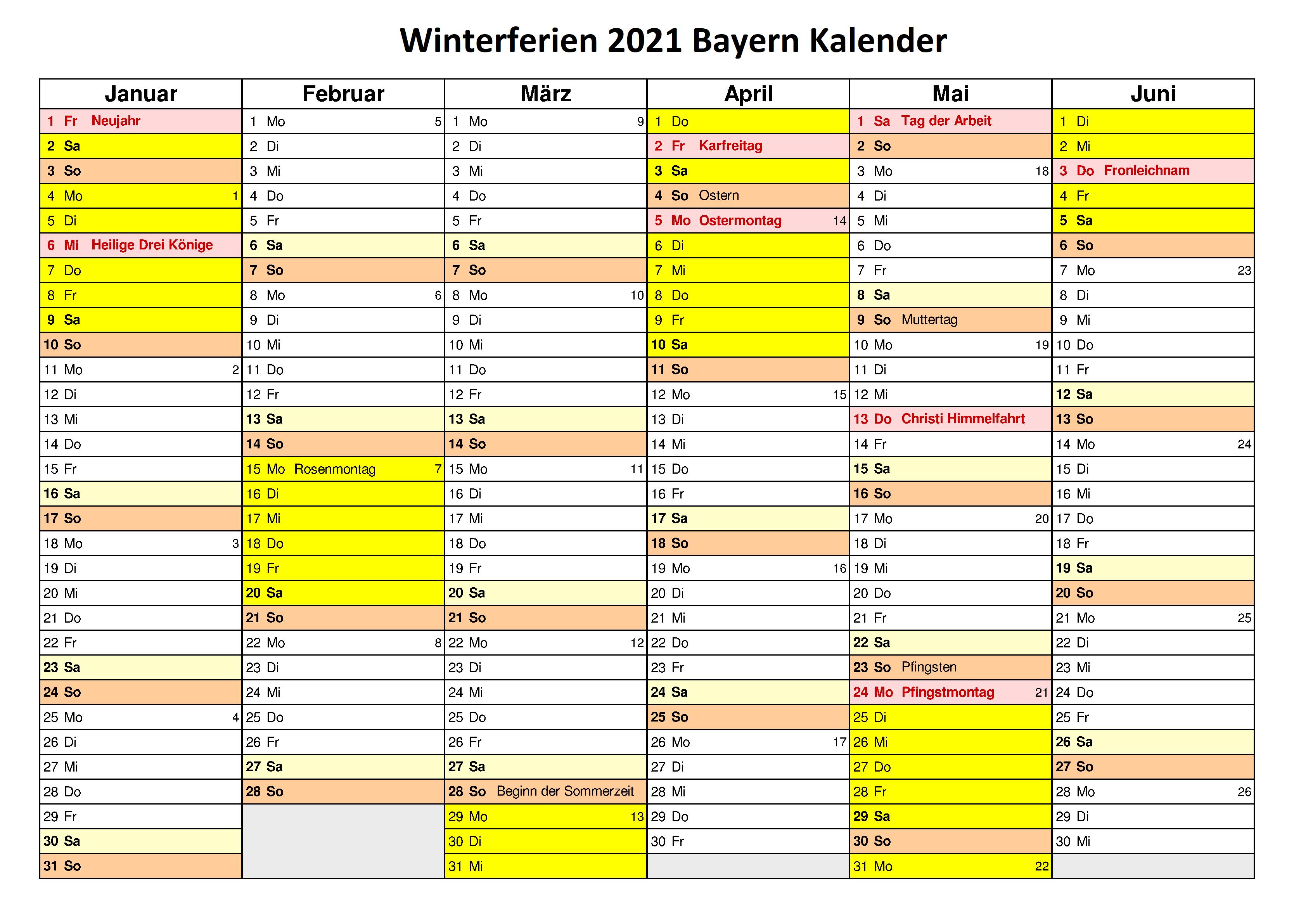 Winterferien Kalender 2021 Bayern Excel
