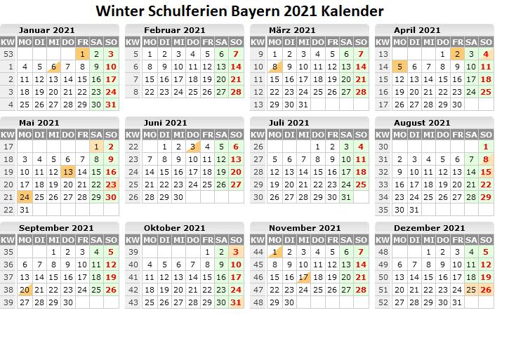 Winterferien Kalender 2021 Bayern Pdf