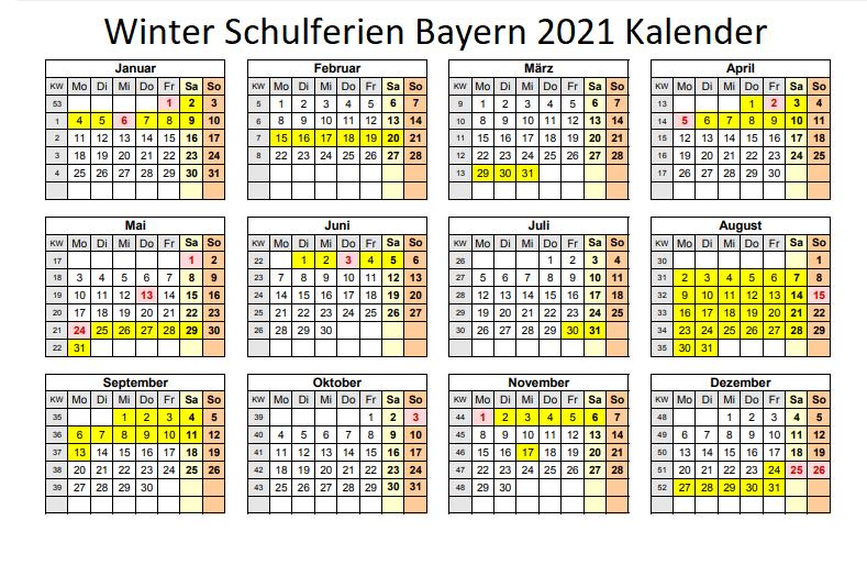WinterferienKalender 2021 Bayern Zum Ausdrucken