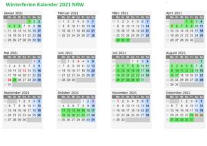 Winterferien Kalender 2021 NRW Excel