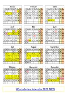 Winterferien Kalender 2021 NRW PDF