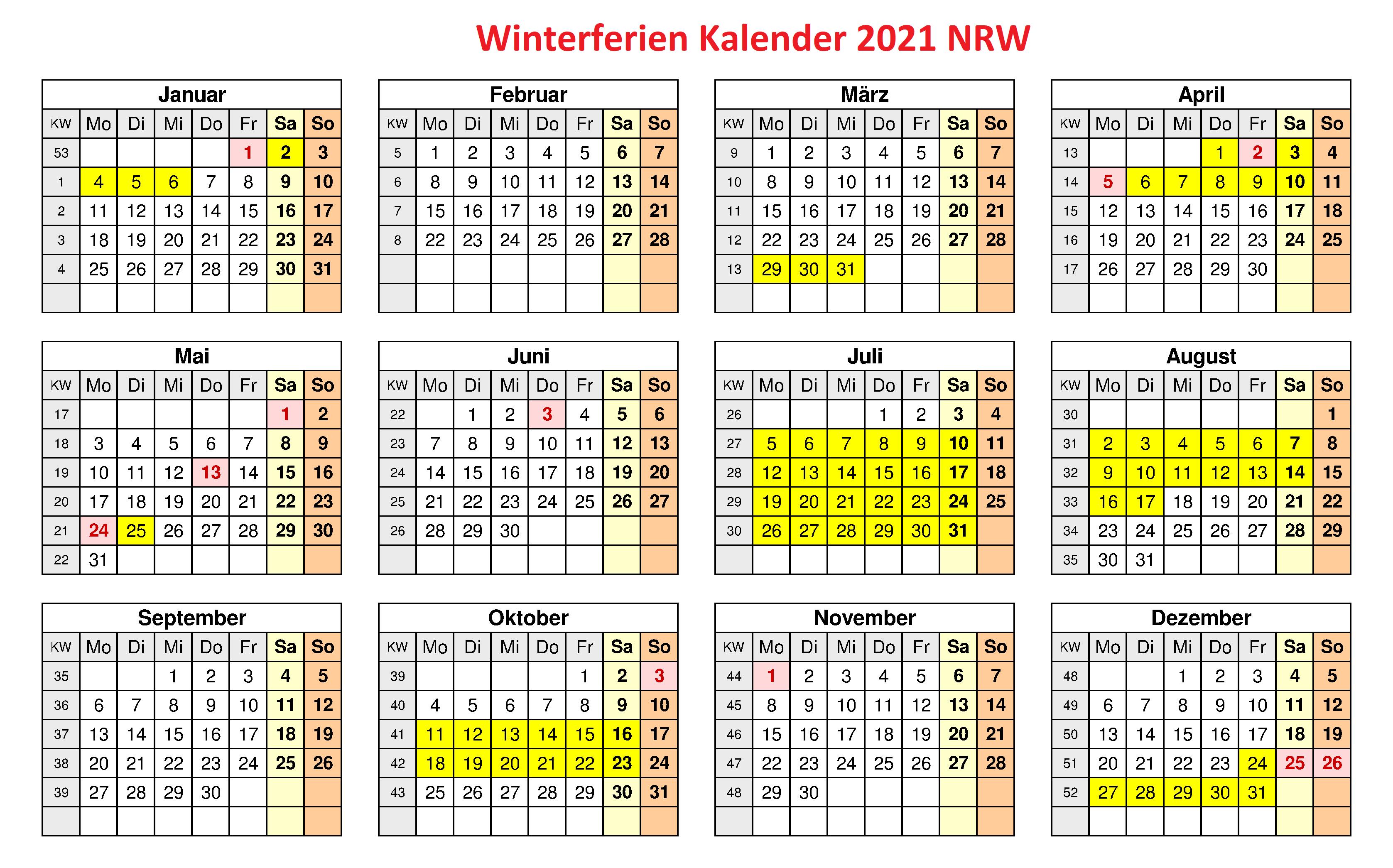 WinterferienKalender 2021 NRW Zum Ausdrucken