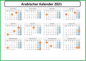 Arabischer Kalender 2021 (1442)