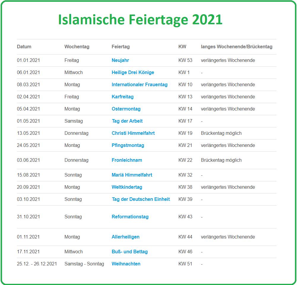 Islamische Feiertage 2021