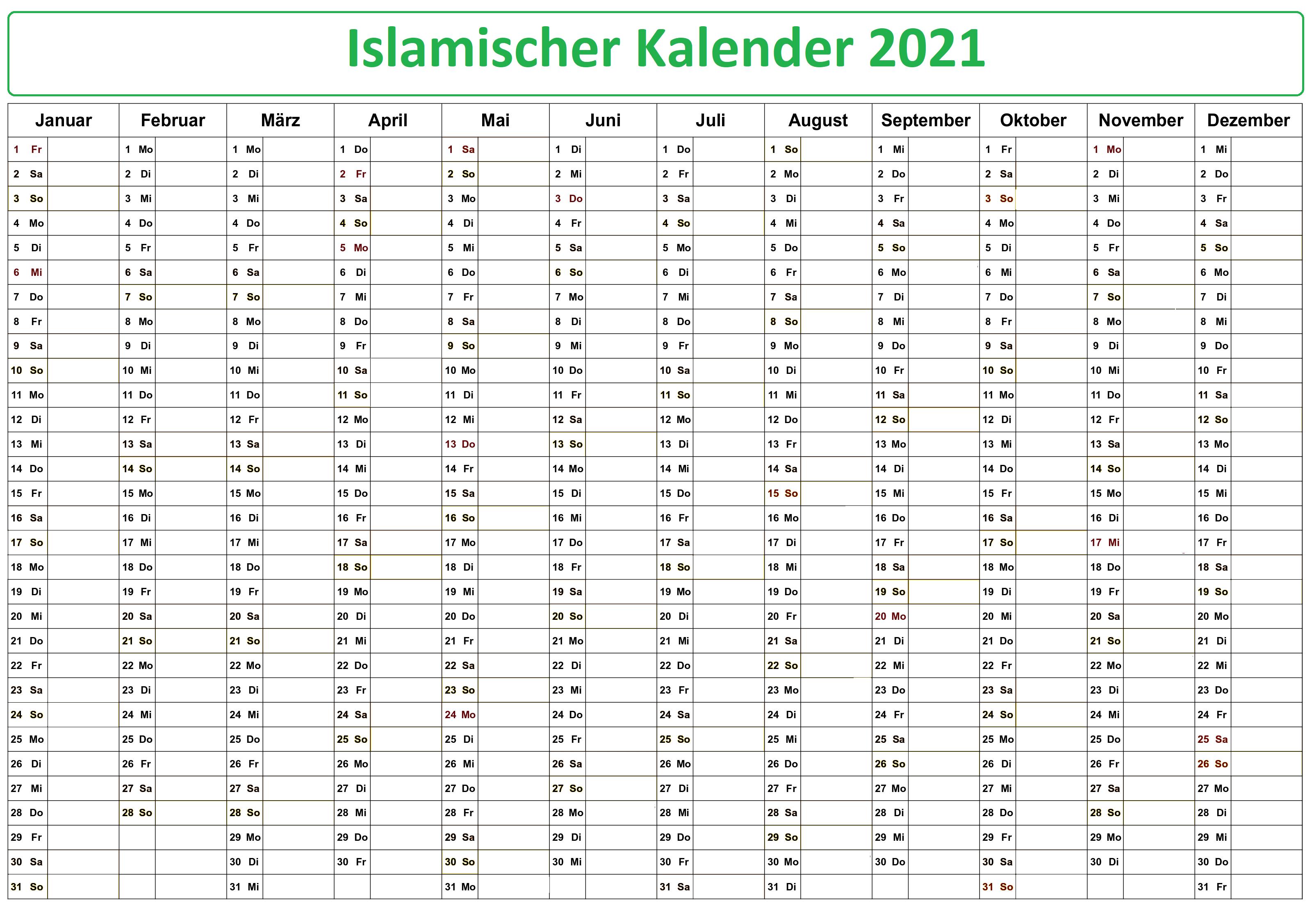 Islamischer Kalender 2021