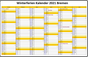 KalenderWinterferien Und Feiertage 2021 Bremen