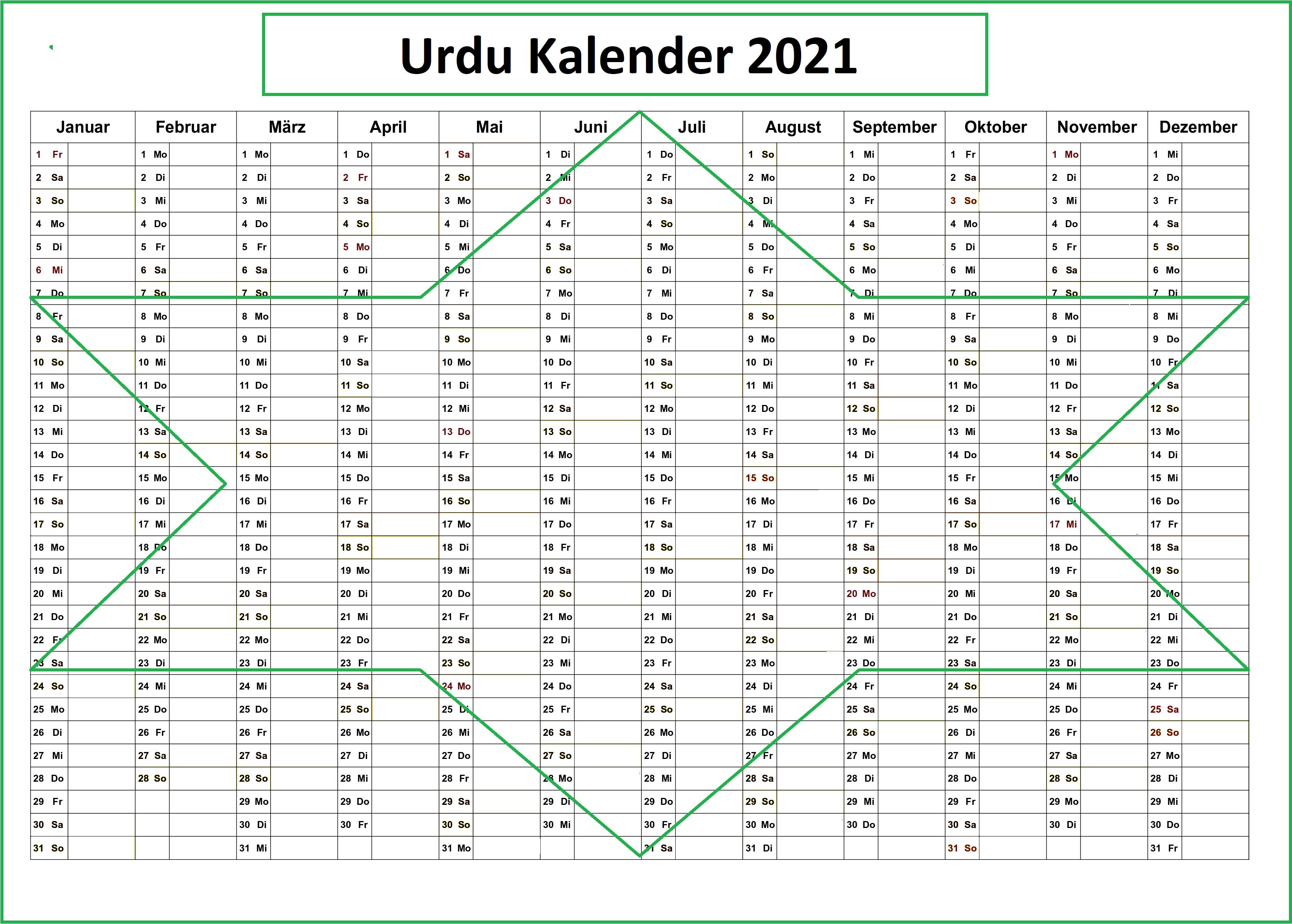 Urdu Kalender 2021