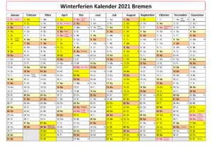 Winter Schulferien Bremen 2021 Kalender