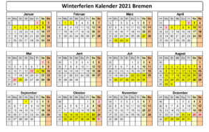 Winterferien Kalender 2021 Bremen Drucken
