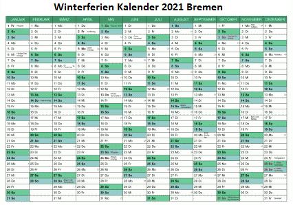 Winterferien Kalender 2021 Bremen Excel
