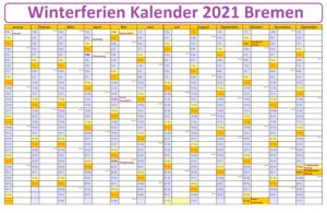 Winterferien Kalender 2021 Bremen PDF
