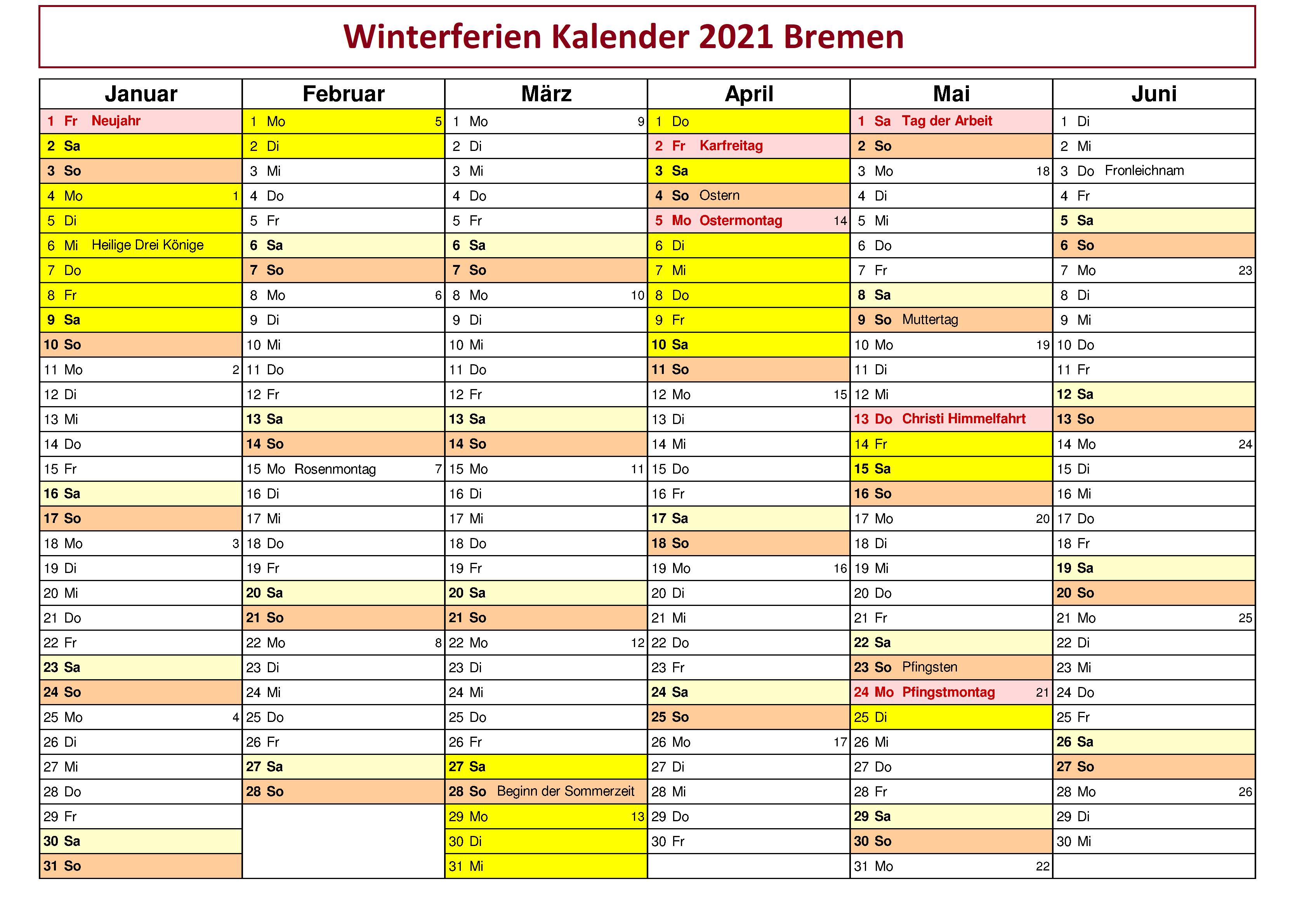 WinterferienKalender 2021 Bremen Zum Ausdrucken