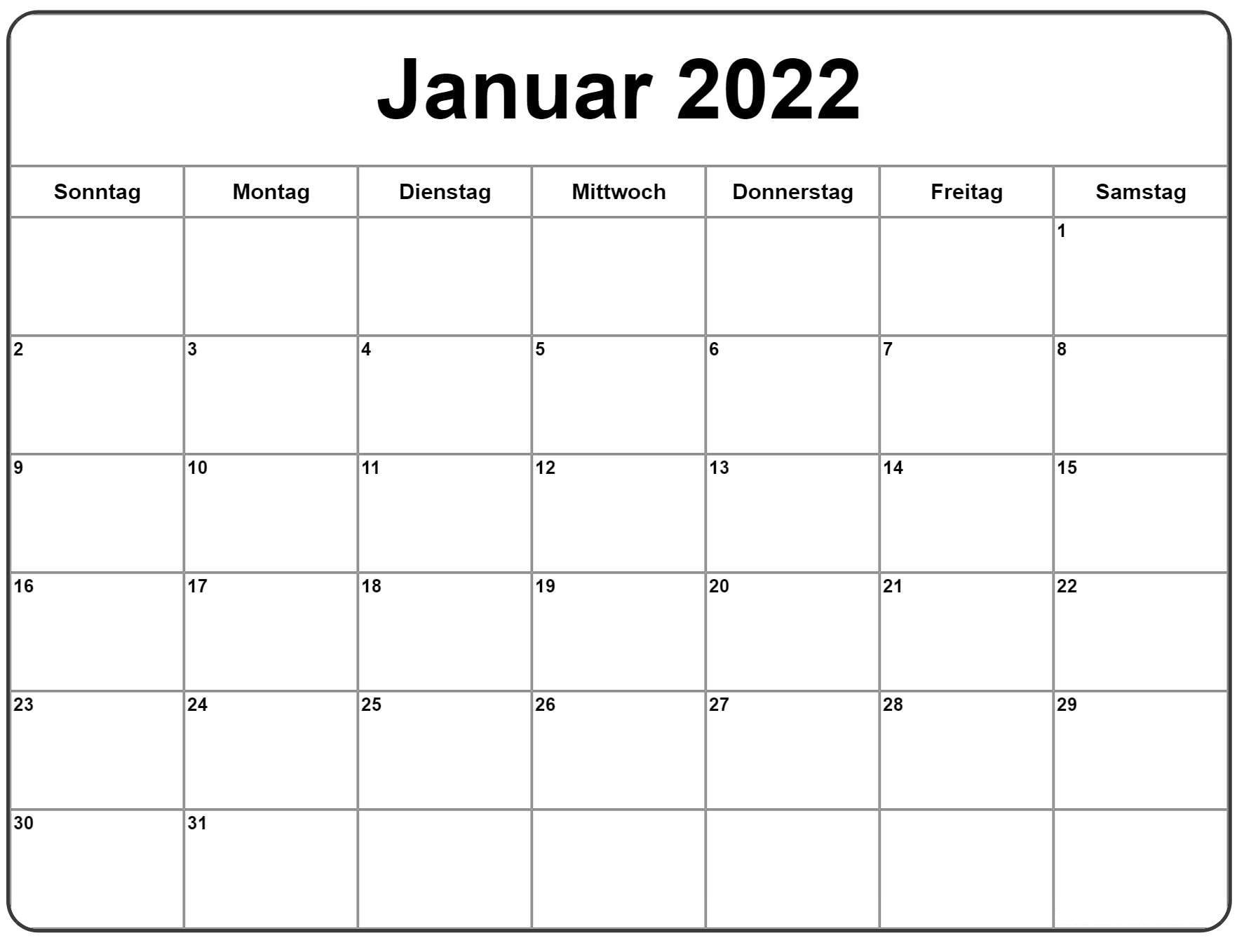 Januar Kalender 2022