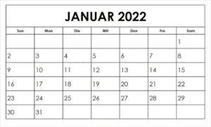 Kalender 2022 Januar Zum Ausdrucken