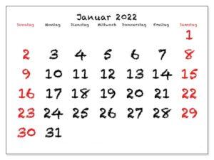 Kalender Januar 2022 Drucken