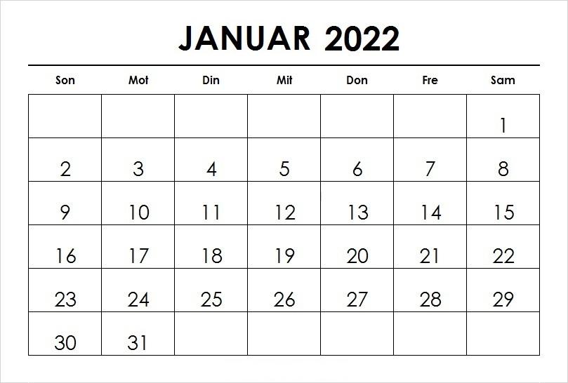Kalender Januar 2022 Vorlage