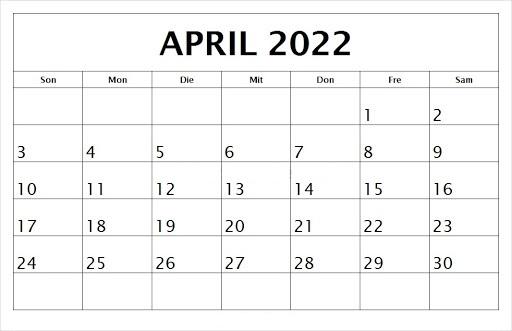 April 2022 Feiertags Kalender