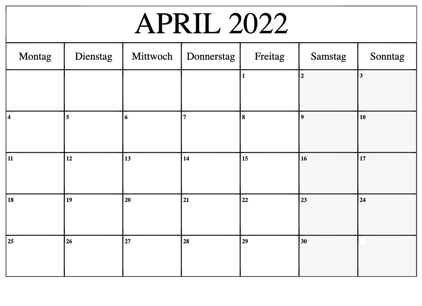 April Kalender 2022