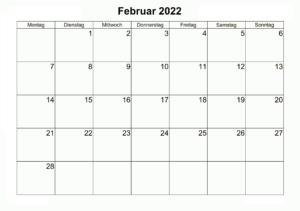 Februar 2022 Feiertags Kalender
