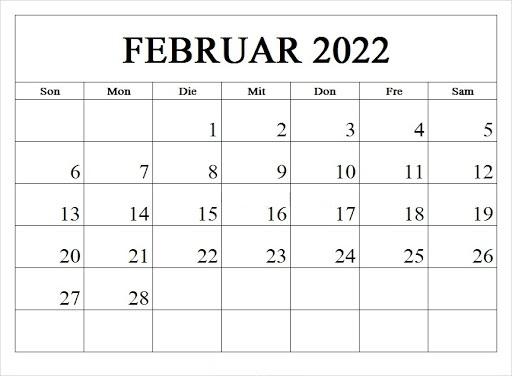 Februar 2022 Kalender Ausdrucken