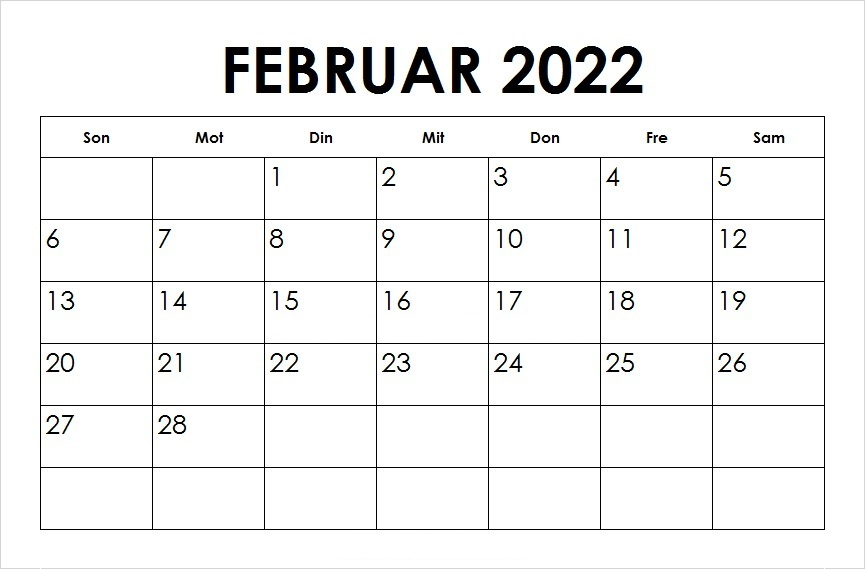 Februar Kalender 2022