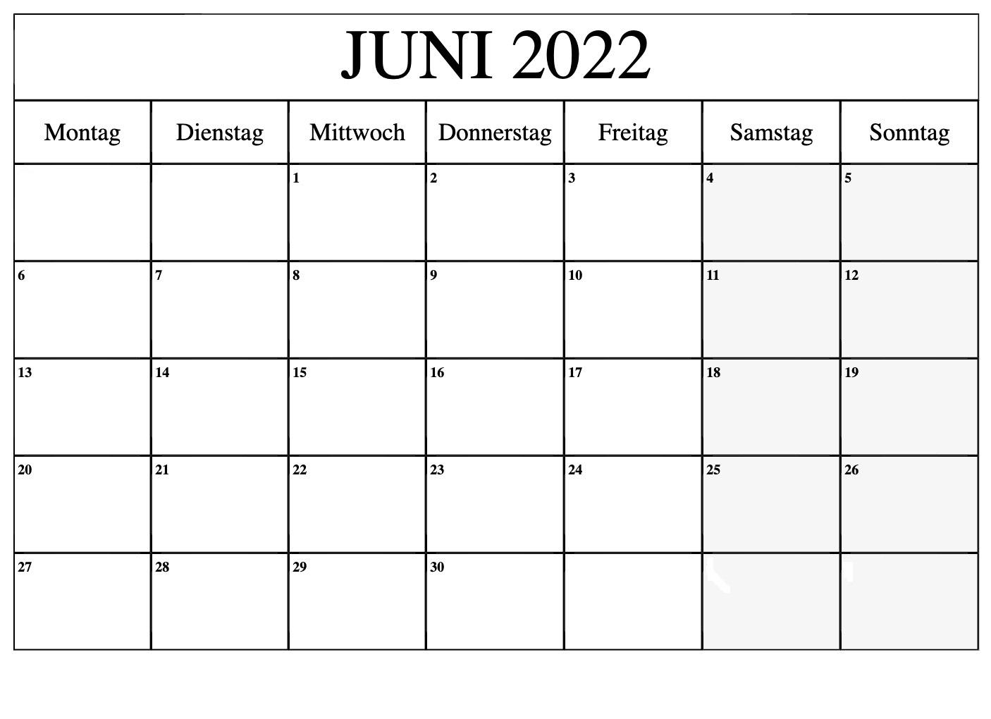 Juni 2022 Feiertags Kalender