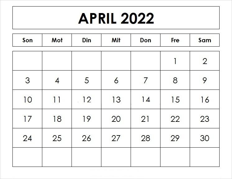 Kalender 2022 April Zum Ausdrucken