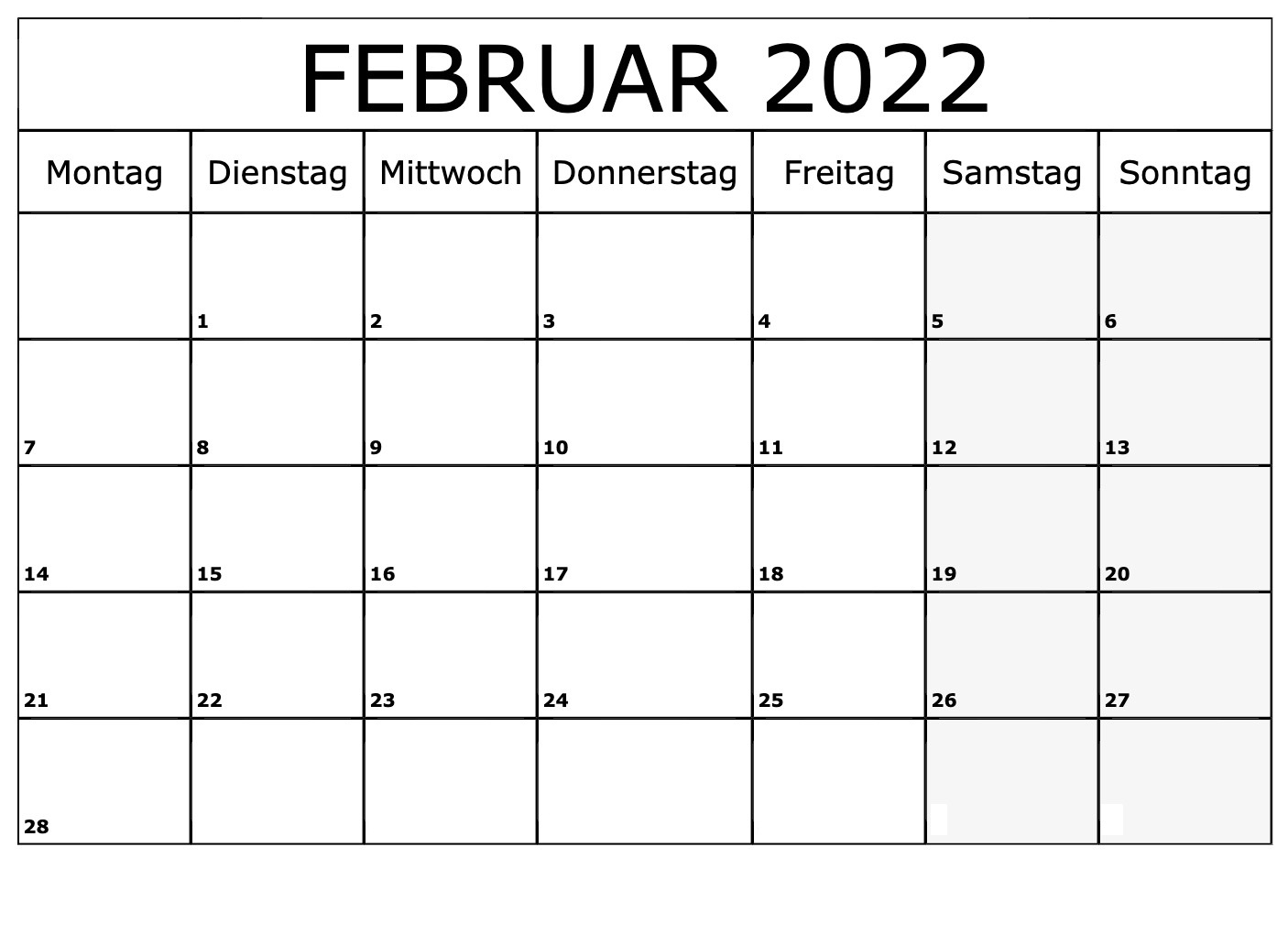 Kalender 2022 Februar Zum Ausdrucken
