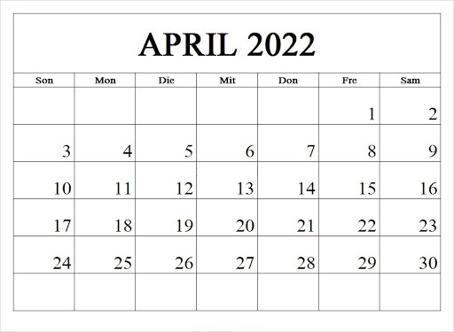 Kalender April 2022 Ausdrucken