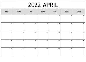 Kalender April 2022 Drucken