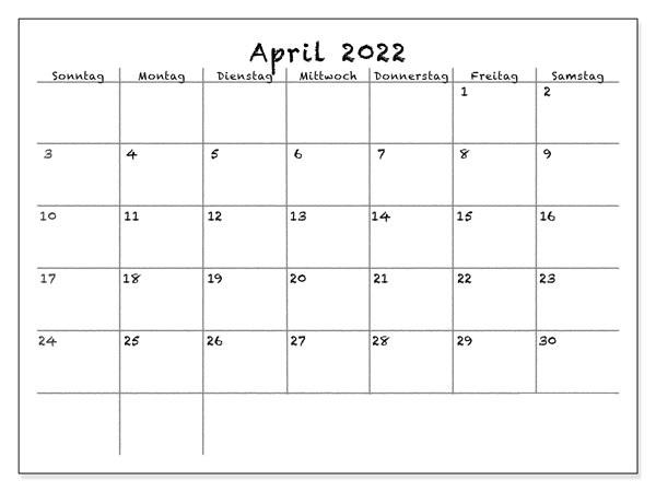 Kalender April 2022 Vorlage