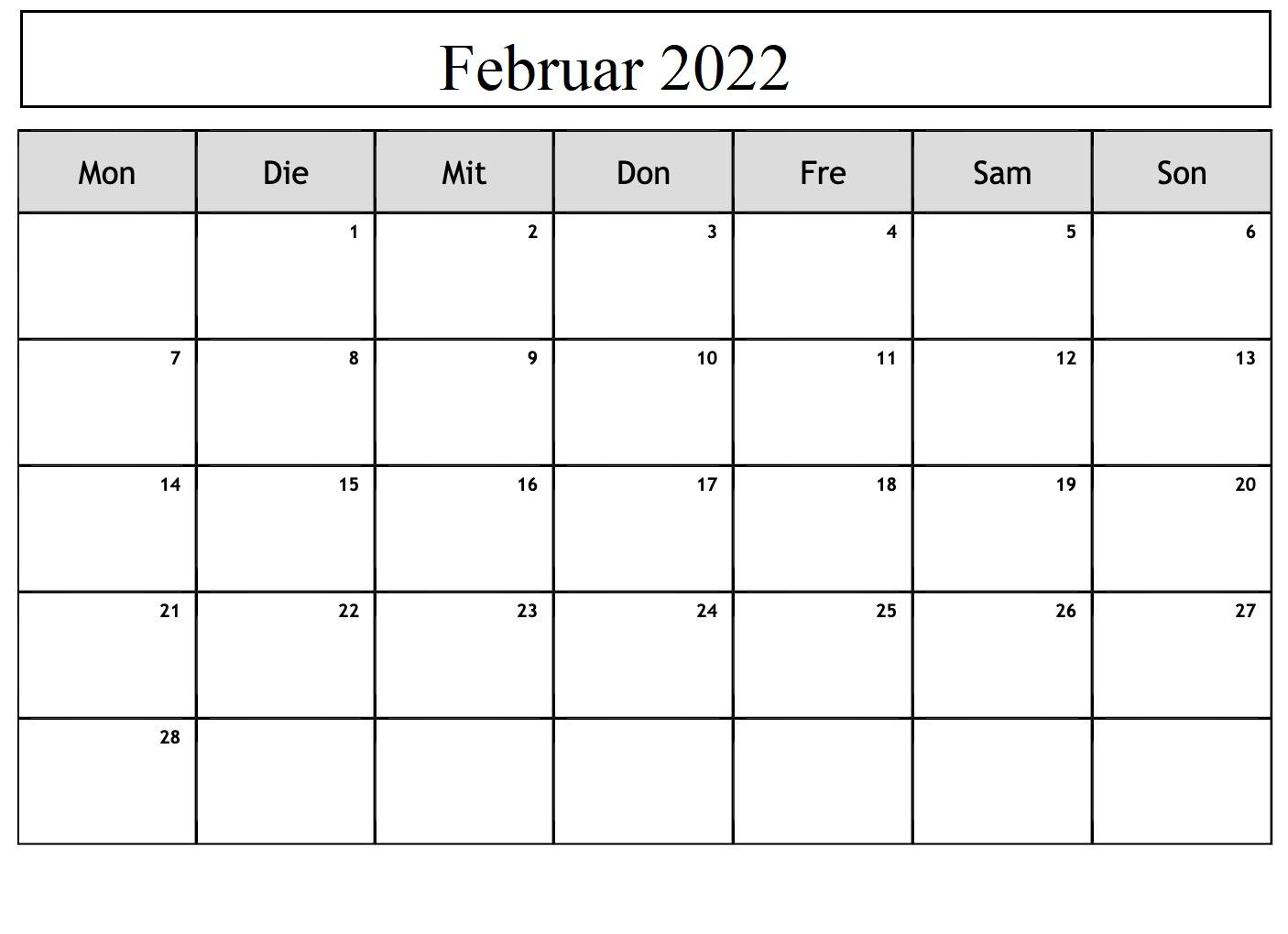 Kalender Februar 2022 Drucken,Februar 2022 Kalender Drucken