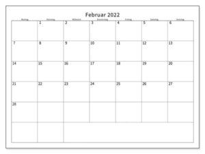 Kalender Februar 2022 Vorlage