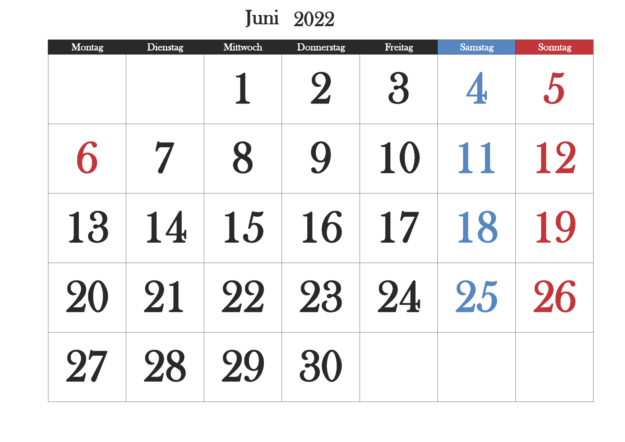 Kalender Juni 2022 Ausdrucken