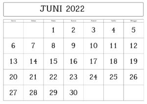 Kalender Juni 2022 Vorlage