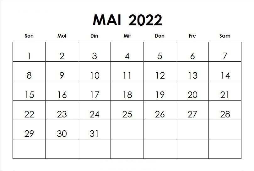 Kalender Mai 2022 Ausdrucken