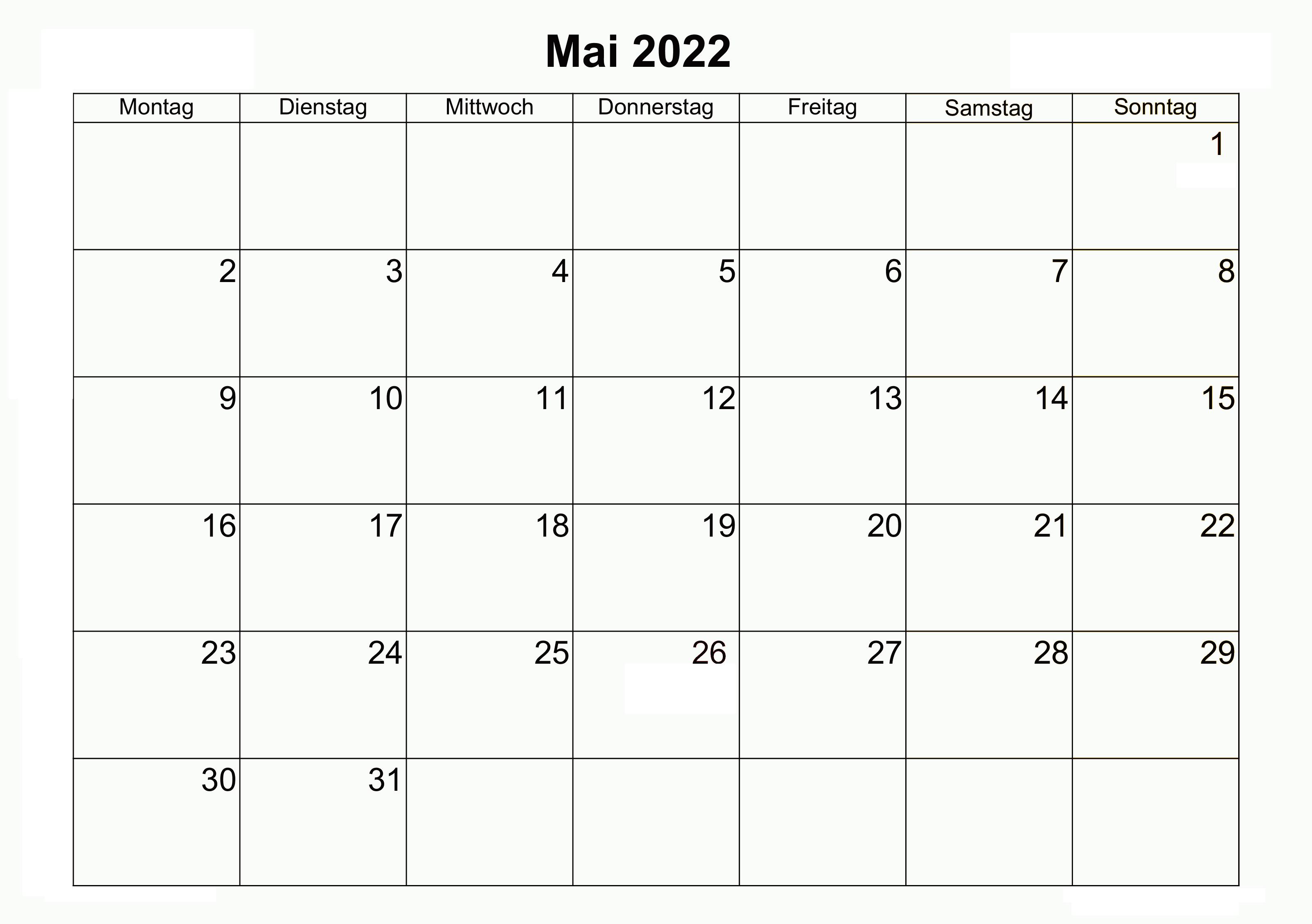 Kalender Mai 2022 Vorlage